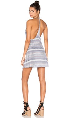 Capulet Y Back Dress in Blue, Red & White Stripe