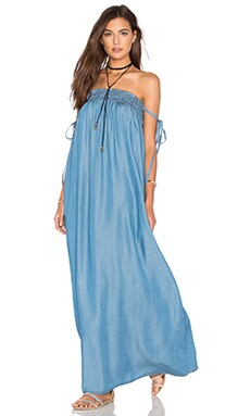 Capulet Tube Maxi Dress in Washed Denim