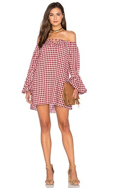 Shoulderless Long Sleeve Dress en Red Gingham