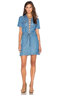 Lace Up Dress in Washed Denim