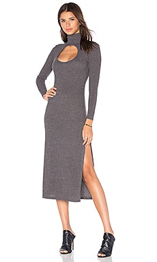 Cut Out Turtleneck Dress in Grey