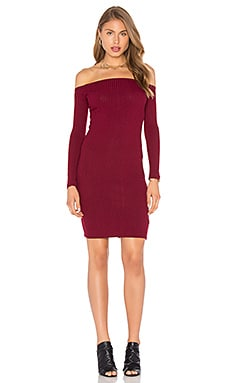 Capulet Shoulderless Bodycon Dress in Currant