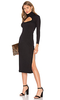 Cut Out Turtleneck Dress in Black