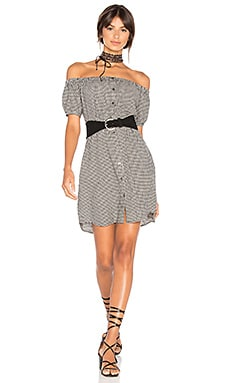 Sofia Off the Shoulder Dress in Black Gingham