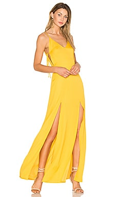 Gina Plunging Maxi Dress in Goldrute