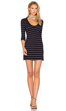 U Neck Bodycon Dress in Navy Stripe