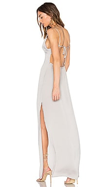 x REVOLVE Deep V Maxi Dress in Silverado