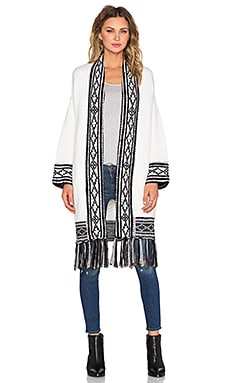 Fringe Cardigan in Cream & Black
