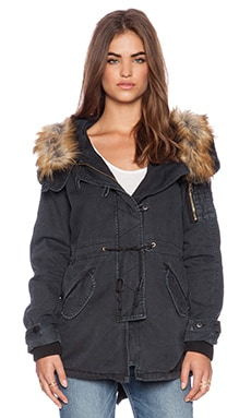 Capulet Faux Fur Hooded Parka in Vintage Black