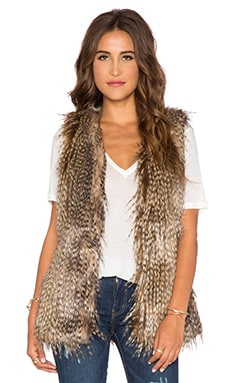 Capulet Faux Feather Vest in Brown Peacock