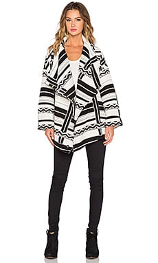 Capulet Wrap Jacket in Black & White Stripe Jacquard