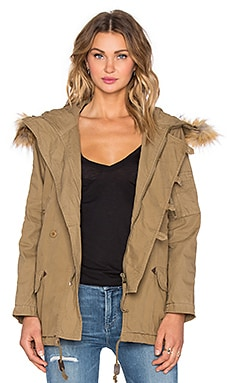 Faux Fur Hooded Parka in Olive