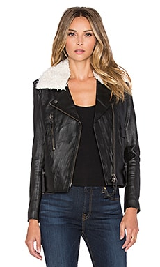 Capulet Shearling Collar Moto Jacket in Black