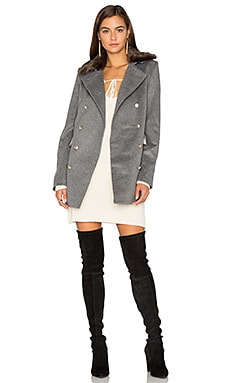 Emmy Double Breasted Coat With Faux Fur Collar