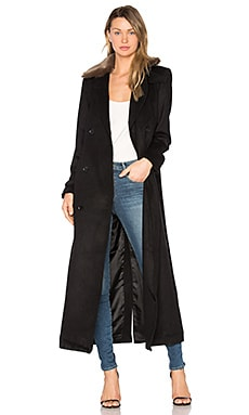 Vinnie Duster Overcoat with Faux Fur Trim in Black
