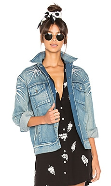 Palma Embroidered Denim Jacket en Washed Denim