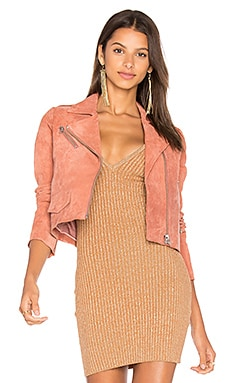 Stella Suede Moto Jacket in Terracotta