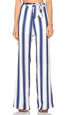 Capulet High Waist Flared Pant in Navy Stripe