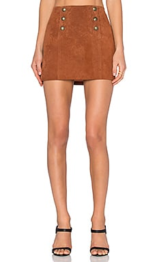Front Button Suede Mini Skirt
