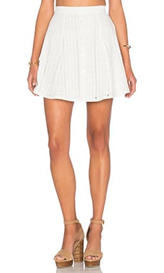 Capulet Button Down Mini Skirt in White