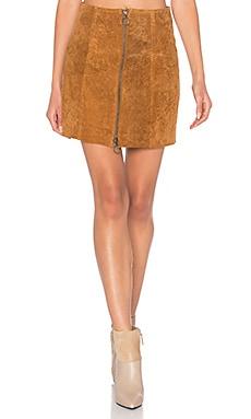 Capulet A Line Zip Skirt in Cognac