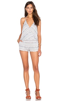 Capulet Halter Romper in White, Red, & Blue Stripe