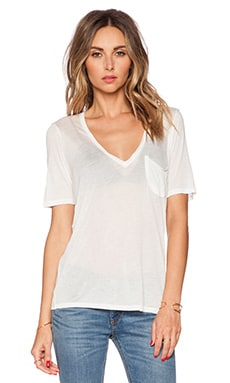 Deep V Neck Tee in White