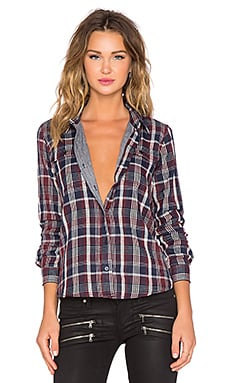 Capulet Two Pocket Plaid Button Up in Red & White & Blue Plaid