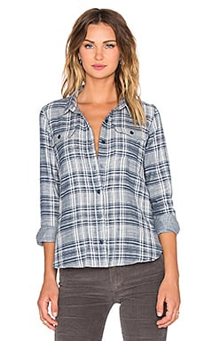 Capulet Two Pocket Plaid Button Up in Blue & Cream Plaid
