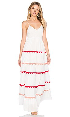 Marieta Dress in White & Red