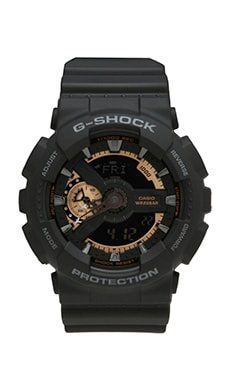 G-Shock GA-110RG-1A in Black w/ Rose Gold