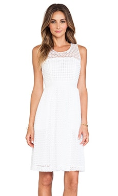 Catherine Malandrino Geri Racerback Fit & Flare Lace Dress in Blanc
