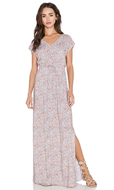 C&C California Printed Kimono Maxi Dress in Simply Taupe