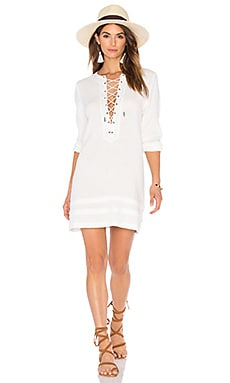 Ynez Lace Up Dress in White