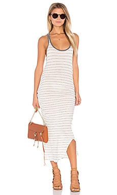 C&C California Sophia Tank Dress in Off White & Black Stripe