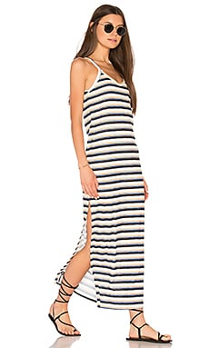 Freja Maxi Slit Dress in White & Multi