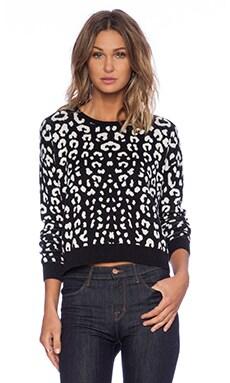 C&C California Leopard Jacquard Crop Sweater in Black