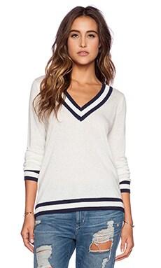C&C California V Neck Tipped Sweater in White