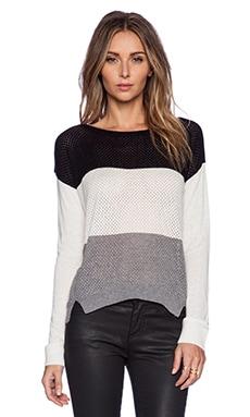 C&C California Colorblocked Stripe Sweater in White