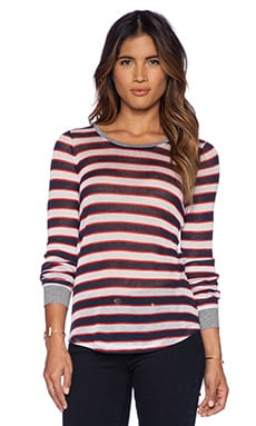 C&C California Stripe Long Sleeve Top in Navy