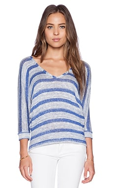 C&C California Stripe V Neck Dolman Sweater in Medium Cobalt