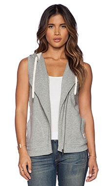C&C California Asymmetric Zip Hoodie Vest in Heather Grey