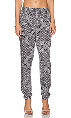 C&C California Printed Rayon Pant in Faded Black