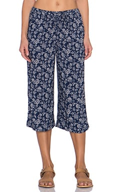 C&C California Printed Culotte Pant in Navy