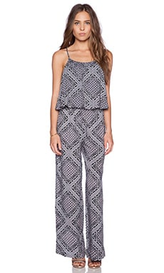 C&C California Printed Tiered Jumpsuit in Faded Black