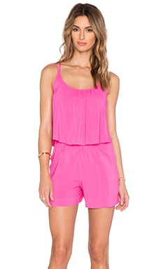 C&C California Strappy Ruffle Romper in Shocking Pink