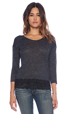 C&C California Lace Mix Linen Tee in Charcoal Heather