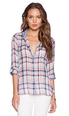 C&C California Plaid Pocket Button Up in Medium Cobalt