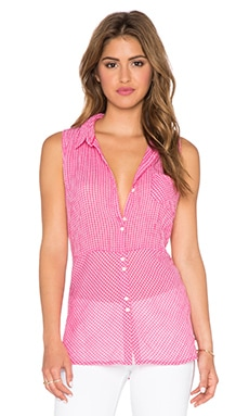 C&C California Sleeveless Gingham Top in Raspberry Sorbet