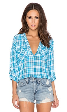 C&C California Two Pocket Plaid Top in Blue Danube